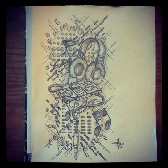 Drawn music dj speaker Tattoo Ranz sketch DJ Art