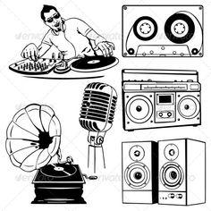 Drawn music dj speaker Set #80s of BOOMBOX! #music