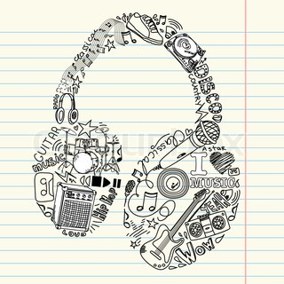 Drawn music doodle art  Headphone music and doodle