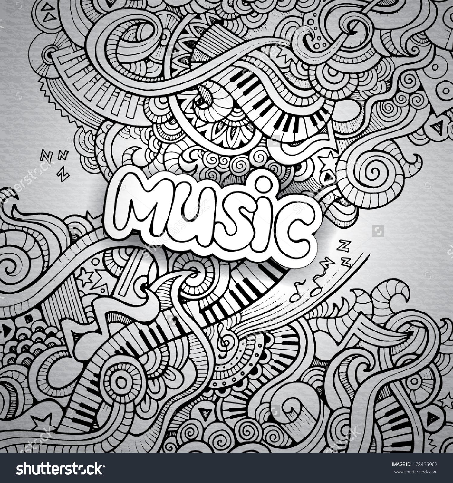 Drawn music doodle art Notebook doodle doodle Shutterstock :