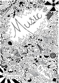 Drawn music doodle art Groovy Doodles vector Vector