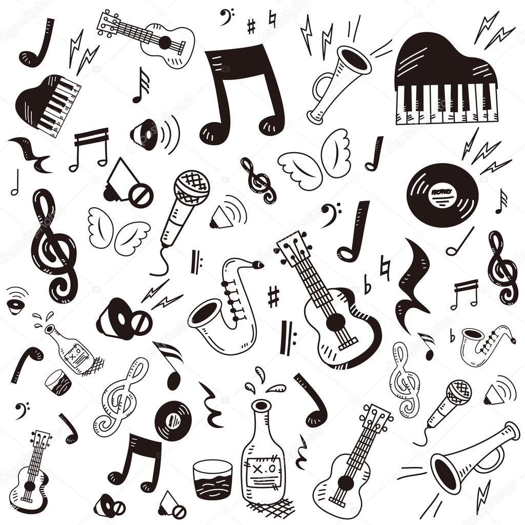 Drawn musical doodle background Icon doodle Vector dapoomll by