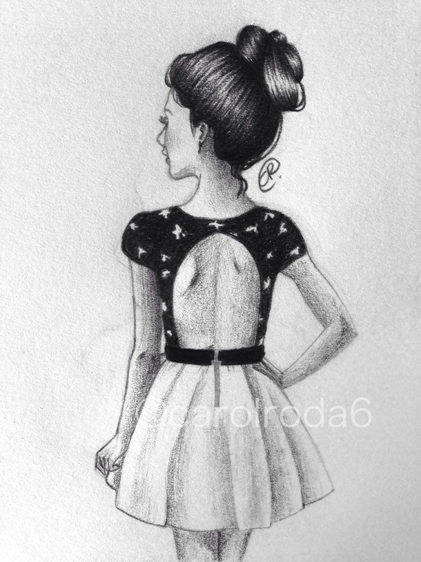 Drawn music dress tumblr Simple Google Girl drawing fashion