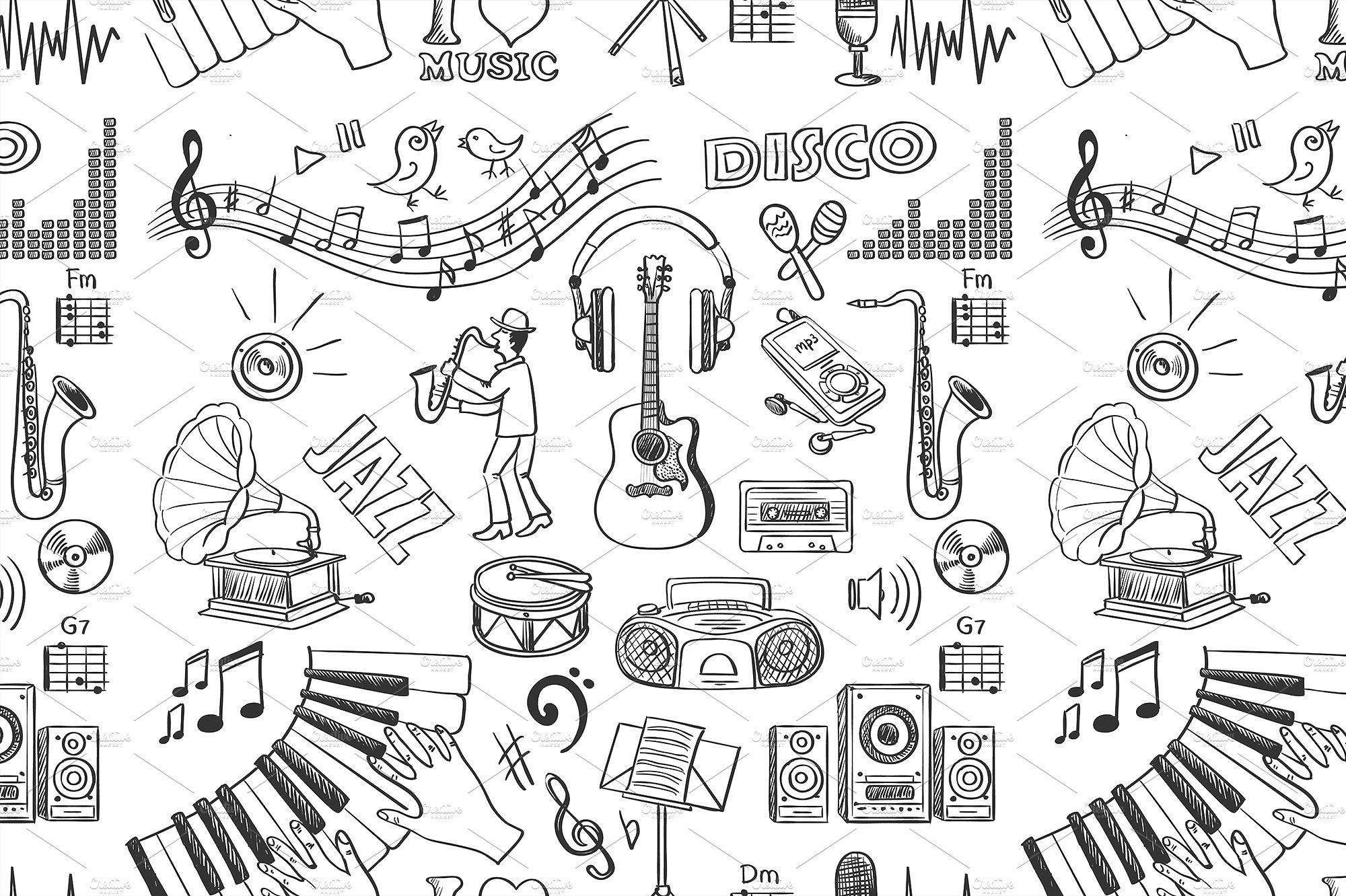 Drawn music hand drawn Music on Creative Hand Market