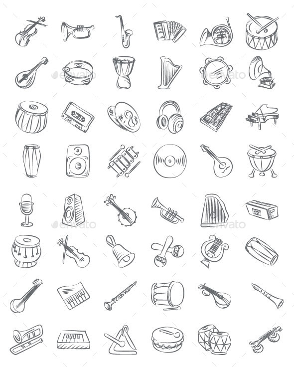Drawn music swirl Hand vectorsmarket Music Drawn Objects
