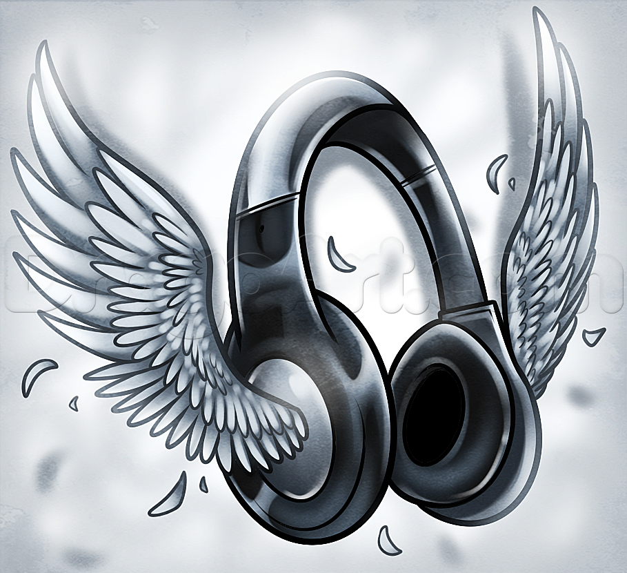 Drawn musical headphone Draw Music Pop Headphones Winged