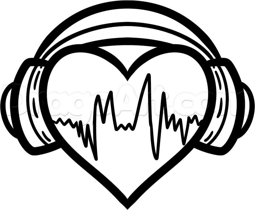 Drawn musician headphone Pinterest dessin By Step Blank