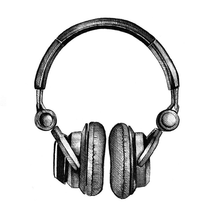 Drawn musical headphone Illustration on ideas illustration 20+