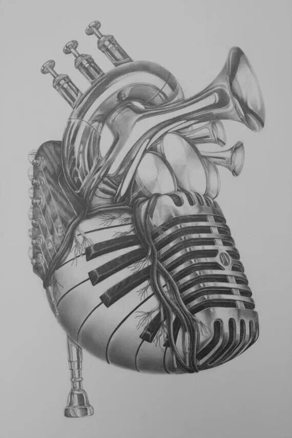 Drawn musician heart Music on staff tattoo tattoo