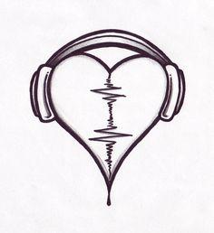 Drawn music heart D'images Drawings  pour Résultats