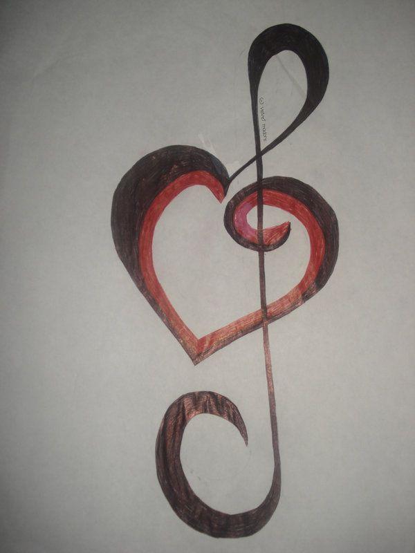 Drawn music heart Heart tattoo Best Music Pattern