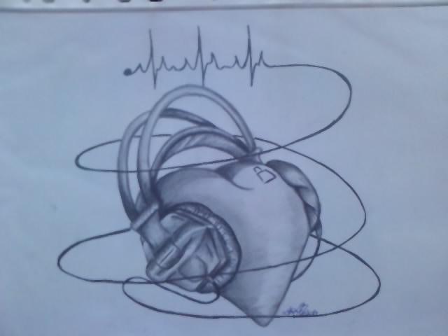 Drawn music heart Note Tattoo Music Music 18