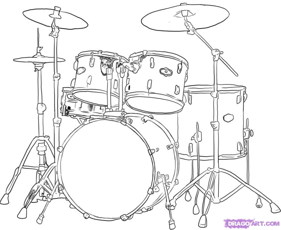Drawn musical line drawing Drum How to sets and