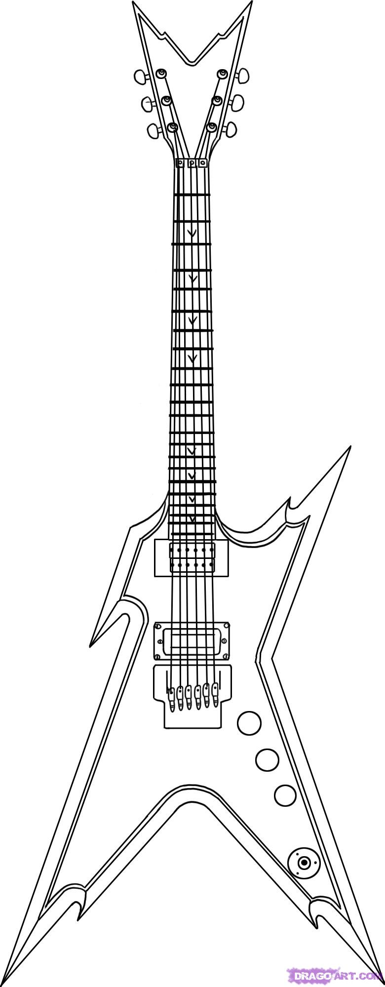Drawn musician line drawing Musical draw electric 5 razorback