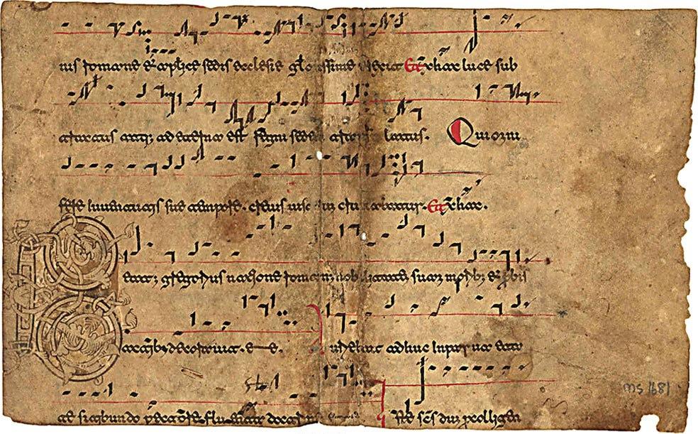 Drawn music lined paper Beneventan century single manuscript and