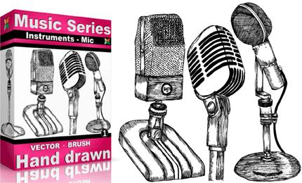 Drawn musical music mic Brushes Hand – Drawn –