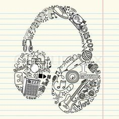 Drawn music music themed Image themed  coloring Hand
