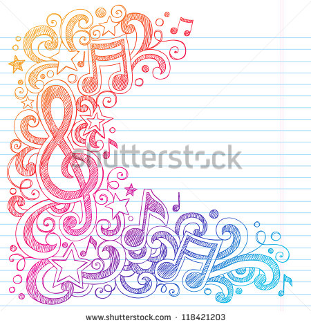 Drawn music notebook Doodles Vector Notes Notes Clef