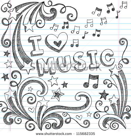 Drawn music swirl Notebook Notes Notebook Doodles Sketchy