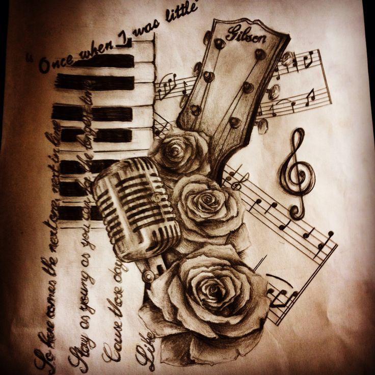 Drawn musician music mic Microphone guitar tattoos Best on