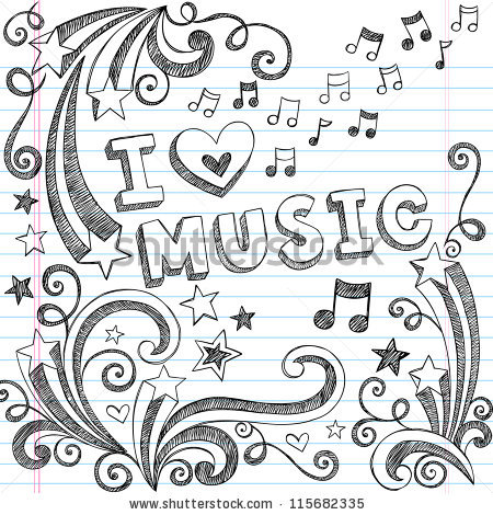 Drawn musical background design Back Music School Doodles Love