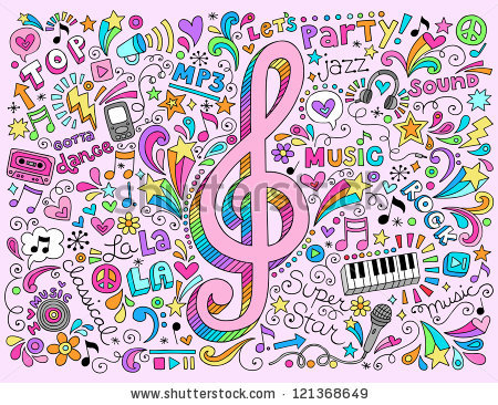 Drawn musical doodle background : : Clef Doodles Hand