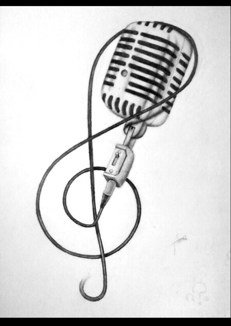 Drawn music notes band Bands sketch Music tattoo microphone