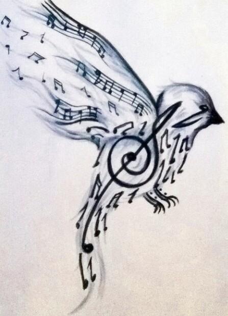 Drawn music notes bird Music Bird Music tattoo Pinterest