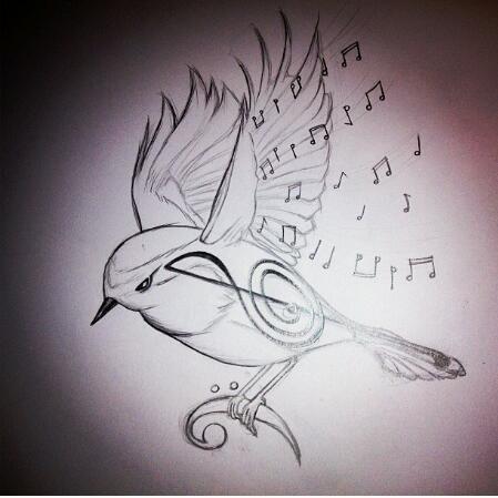 Drawn music notes bird Musical 183 Search Pinterest bird