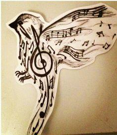 Drawn music notes bird  musiç Guitar Note Music