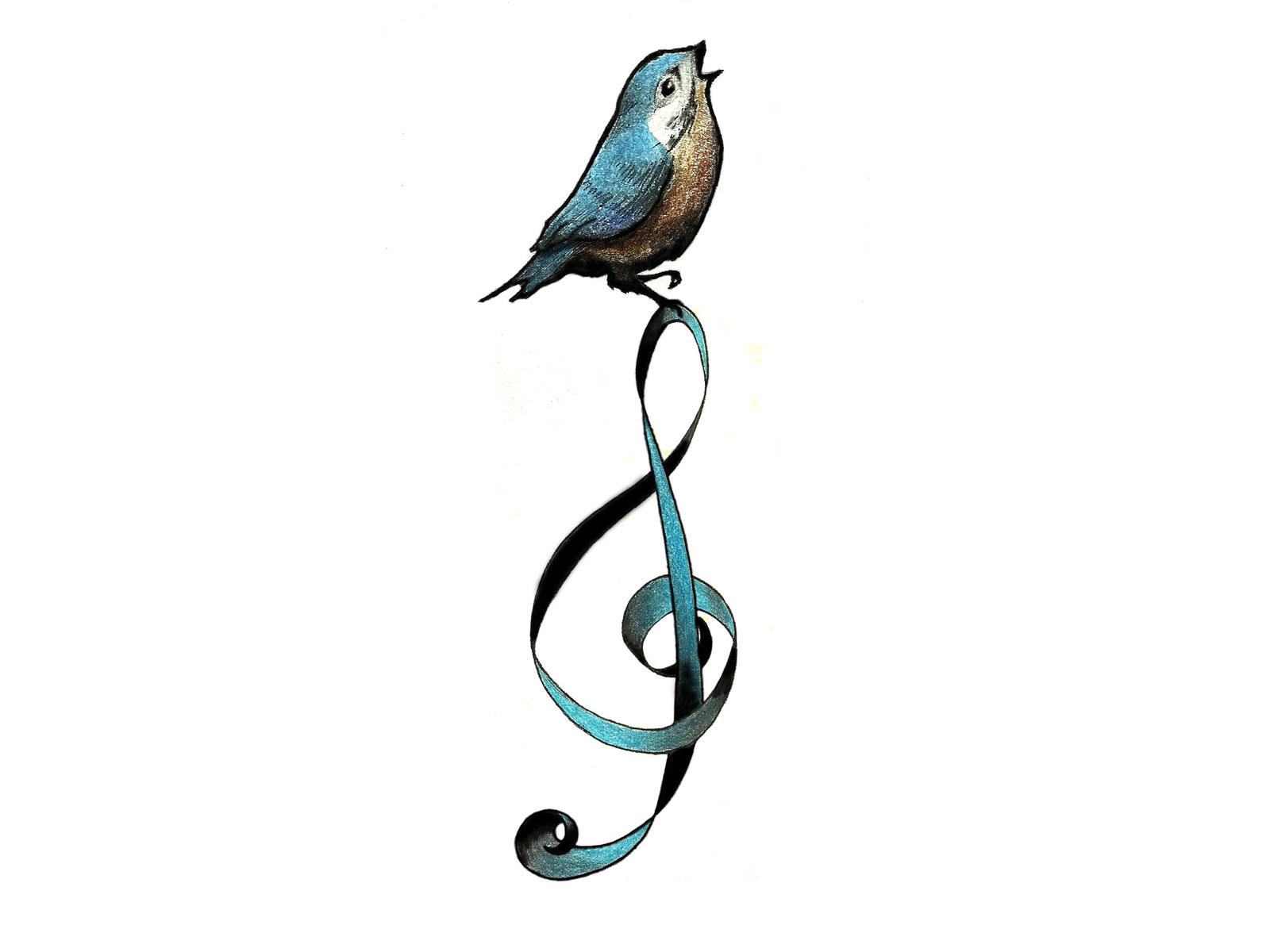 Drawn music notes bird Blue Wallpaper tattoo bird tattoo
