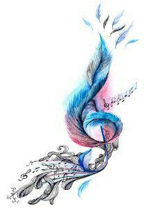 Drawn music notes bird Water room did girls choir