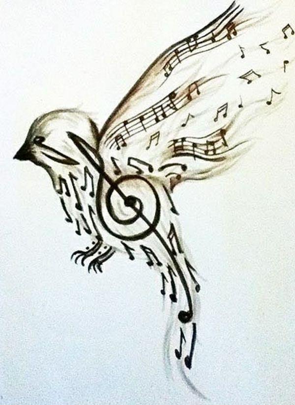 Drawn music notes bird Pinterest Coole 25+ Gesichtsbilder tolle