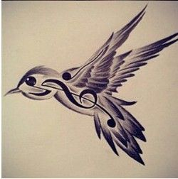 Drawn music notes bird Bird on Search Google tattoos