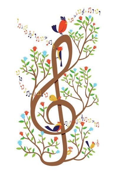 Drawn music notes bird Music Pinterest Tree Clef on