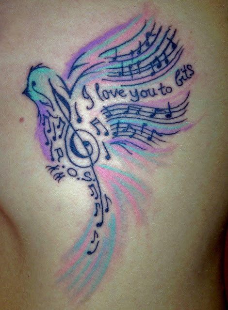 Drawn music notes bird Bird the Music #tattoo admit