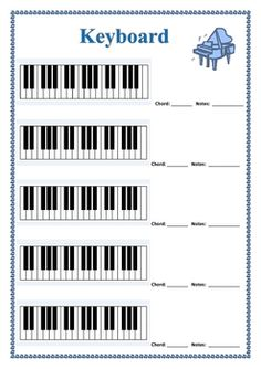Drawn music notes blank For diagrams Piano Guitar :