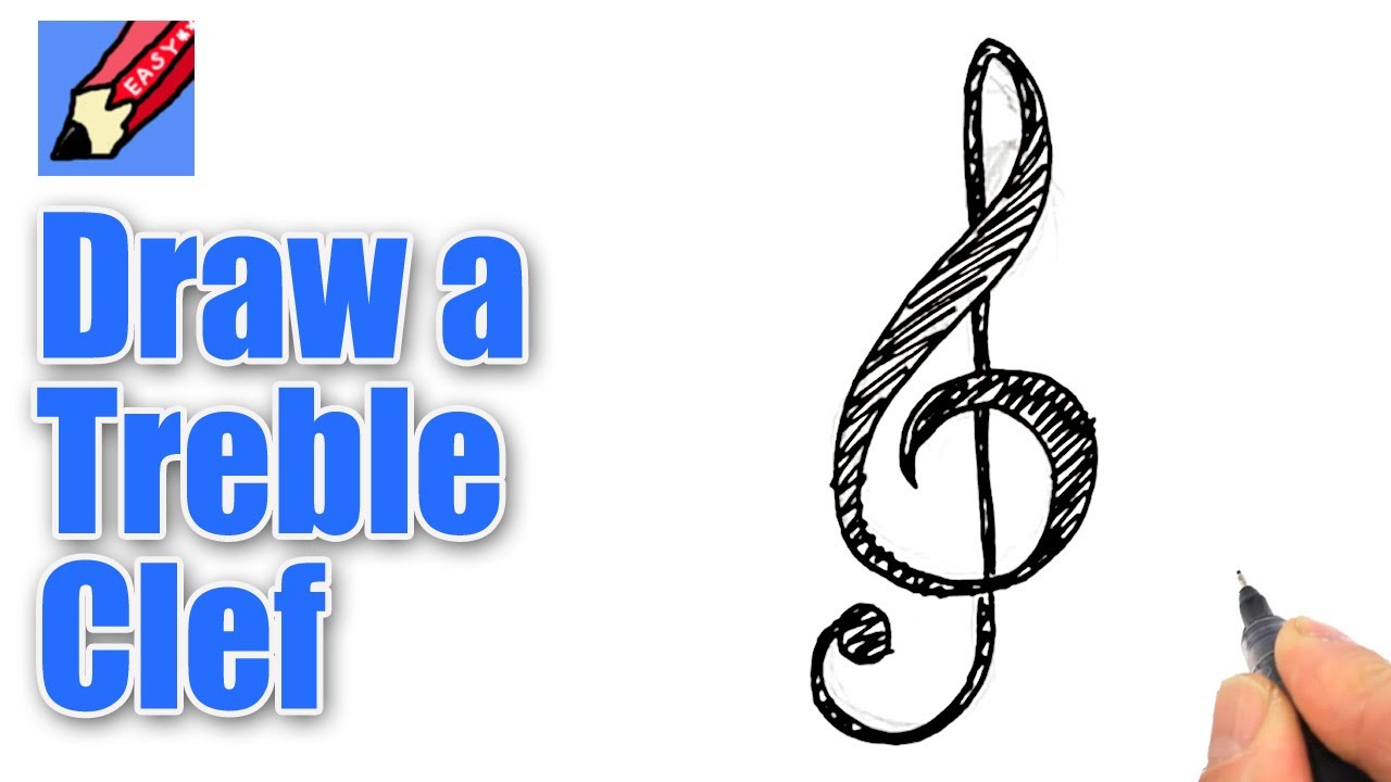 Drawn violin string instrument Clef draw a  Treble