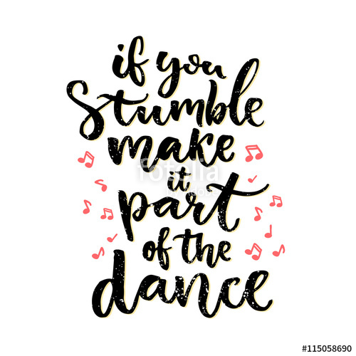 Drawn music notes calligraphy  hand Positive dance lettering