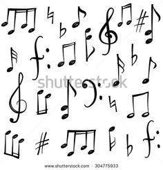 Drawn music notes calligraphy Stock // symbol vector CLIP