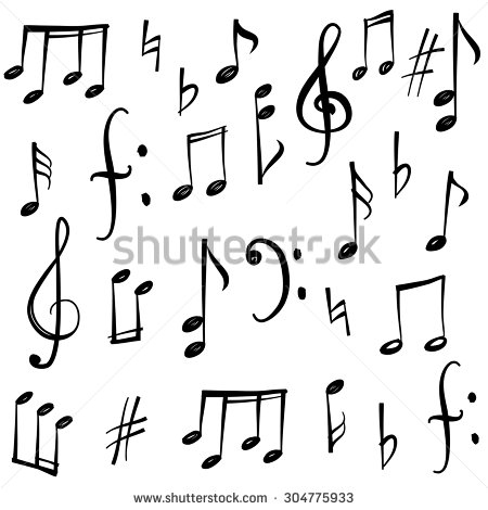 Drawn music notes child And  sketch symbol stock