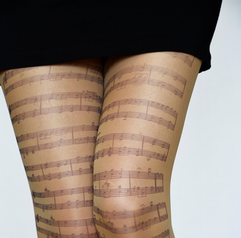 Drawn music notes choir Tights Etsy Tights tattoo Tattoo