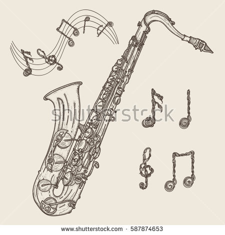 Drawn music notes classic music Saxophone music drawn Music notes