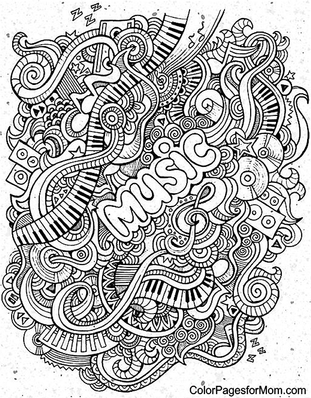 Drawn music notes coloring page Page Coloring Doodles Pinterest Doodles