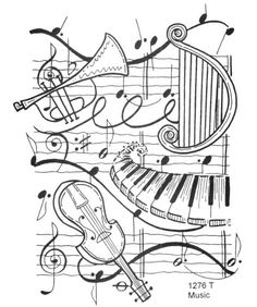 Drawn music notes coloring page Case volwassenen and Pin for