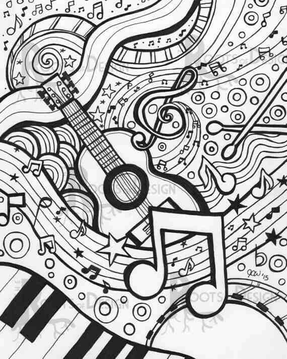 Drawn music notes coloring page GUITARS PIANOS pages Coloring /