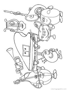Drawn music notes coloring page  Pages Coloring Musical Instruments