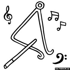 Drawn music notes coloring page  by Color Page Instruments