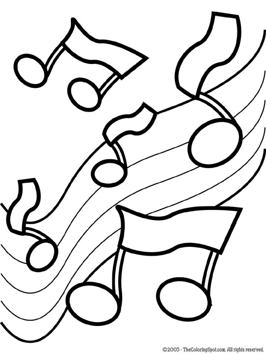 Drawn music notes colour Coloring Coloring Music public play