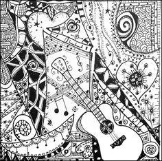 Drawn music notes colour Para